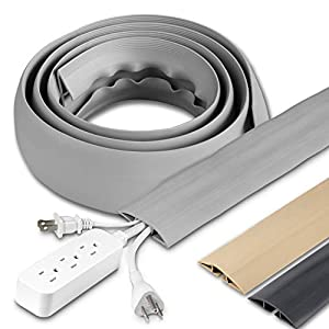 Cordinate, Gray, 6 Ft Floor Cord Cover, Rubber, Low Profile, Cable Protector, 47348