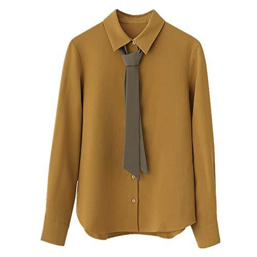 NOBRAND - Blusa de manga larga con corbata Amarillo amarillo L