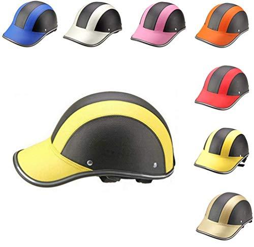 LUHUIYUAN Baseballmütze, Sportschutzhelm Radmütze Kopfschutz Baseball Halbhelm Moto Motorrad-Sicherheit Einstellbare Anti-UV-Masken-Hut,G