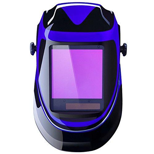 DEKO Maschera saldatore ad energia solare Deep Sea Casco professionale di oscuramento automatico con ampia gamma di paraluce regolabile 4/9-13 per Mig Tig Saldatura ad arco Maschera saldatore (blu)