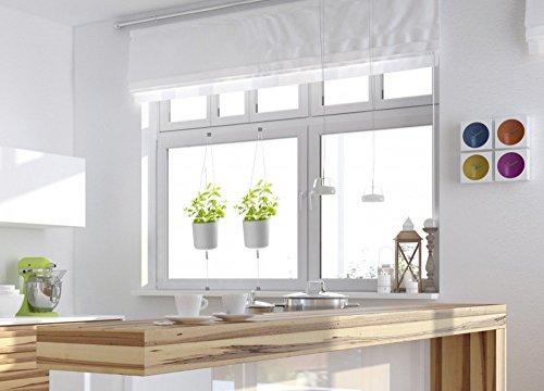 HT Kräuter-Topf 2 Stück weiß Blumentopf Weiss zum Einhängen am Fenster-Rahmen