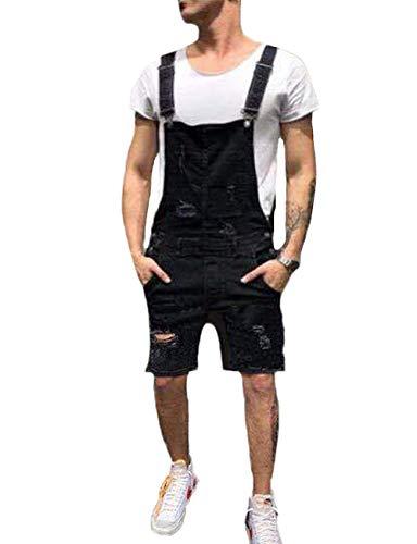 Shawnlen Männer Denim-Hosen Lässige Retro Combat Cargo Latzhose Latzhose Stonewash Jeans Jumpsuits (XL, schwarz 2)