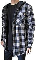(ディッキーズ)Dickies フード付き フランネル キルティングシャツジャケット (Lサイズ, ブラック/スモーク) [並行輸入品]