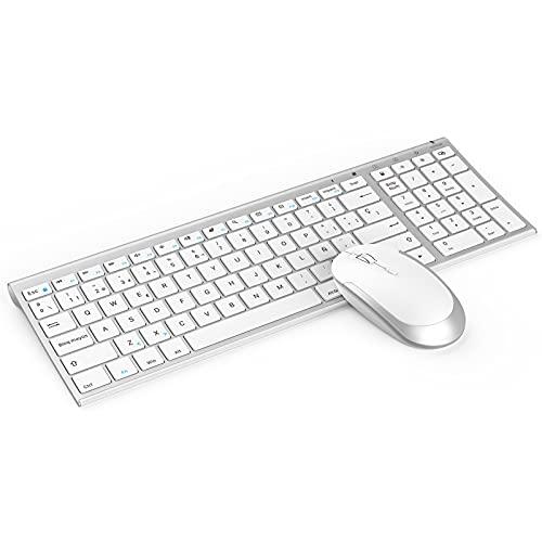 Jelly Comb Combo Teclado y Ratón Inalámbricos Recargables para Windows,  Teclado Español Ultrafino y Ratón Silencioso con Receptor USB,  para PC/Portátil/Ordenador,  Blanco y Plata