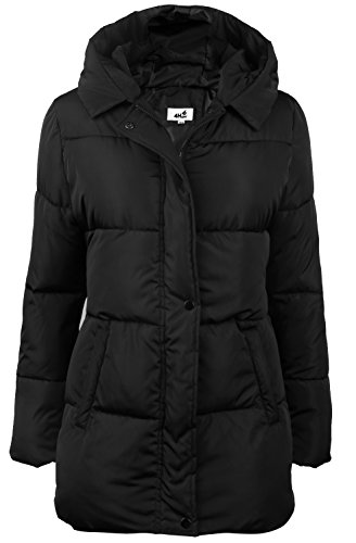 4HOW Women's Hooded Packable Puffer Down Jacket Winter Parka Coat Black US Size 8