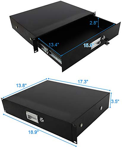 Check Out This DJ Drawer Equipment Cabinet with Keys Black 19 2U Steel Plate