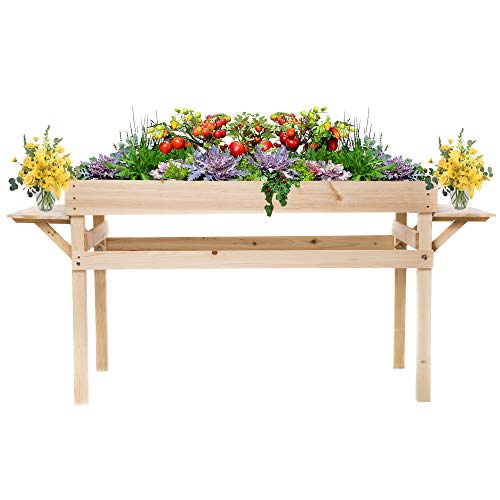 OMISHOME Indoor-Outdoor Elevated Garden Bed with Two Fold-Down Shelves - Durable Cedar Wood Raised Herb Planter Box - Suitable for Vegatables, Flowers or Herbs