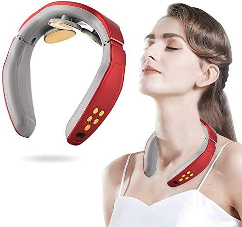 FUSHITON masajeador de Cuello, masajeador de Cuello Inteligente, masajeador de Cuello eléctrico, masajeador de Cuello eléctrico con 6 Modos, inalámbrico 3D de Viaje Equipo de Masaje de Cuello