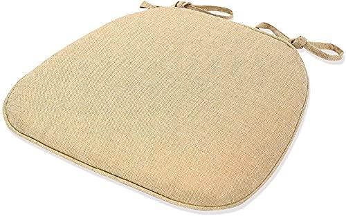 JY&WIN Cojín para silla de comedor, cojín japonés de lino para silla de madera maciza, cojín para silla de uso doméstico de esponja transpirable (color: blanco, tamaño: 43 x 41 x 35 cm)