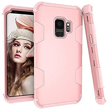 Phone Case for Samsung Galaxy S9 Plus Slim Hybrid Shockproof Silicone Rubber TPU Heavy Duty Rugged Hard Protective Cell Accessories Glaxay S9+ 9S 9+ S 9 9plus S9plus Cases Women Girls Rose Gold