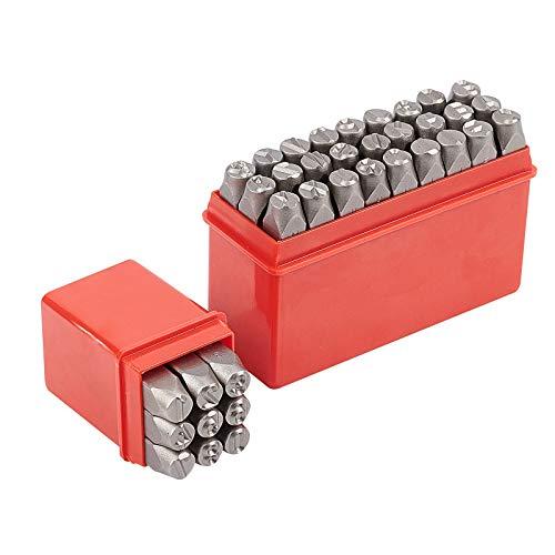 PandaHall 36pcs 8mm Poincon de Frappe Lettre à Frapper Jeu de Timbres en Métal, Lettre Alphabet A-Z, Numero 0-8 et &, Outil de Presse pour l'impression sur métal, Bois, Cuir, Le Fer