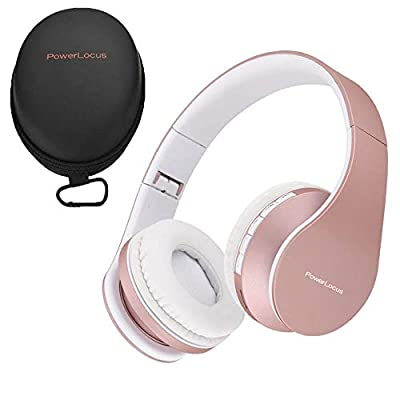 PowerLocus Wireless Bluetooth Over-Ear Stereo Foldable Headphones, Wired Headsets Noise Cancelling with Built-in Microphone for iPhone, Samsung, LG, iPad (Rose Gold) by PowerLocus