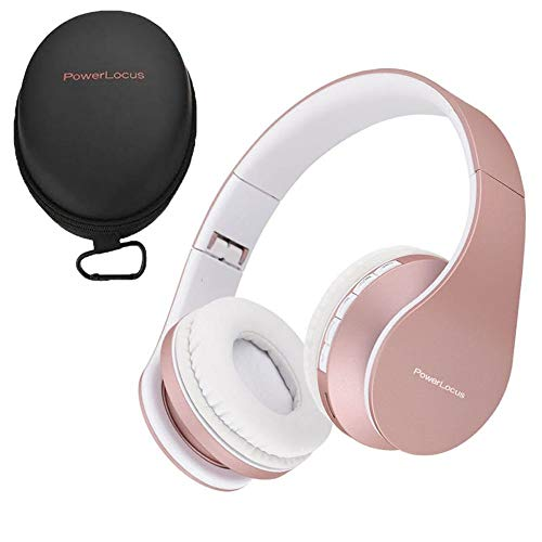 PowerLocus Wireless Bluetooth Over-Ear Stereo Foldable Headphones, Wired Headsets with Built-in Microphone for iPhone, Samsung, LG, iPad (Rose Gold)