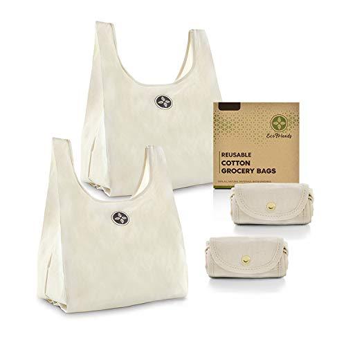 Faltbare Baumwoll-Einkaufstaschen, umweltfreundlich, biologisch abbaubar, wiederverwendbar, 100% natürlich, maschinenwaschbar, groß, 38,1 x 45,7 cm, ohne Plastik, Nylon und Polyester