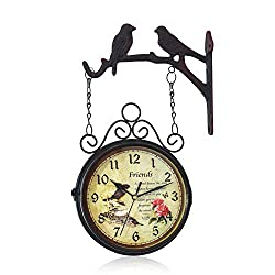wyingj Vintage-Inspired Double Sided Wall Clock Silent & Non-Ticking Wrought Iron Antique-Look Brown Round Retro Station Clock