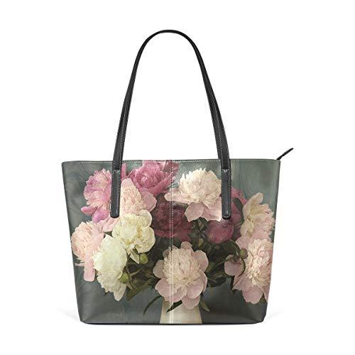 XGBags Benutzerdefinierte Vase Pfingstrose Blumen Damen Geldbörse PU Leder Schulter Einkaufstasche
