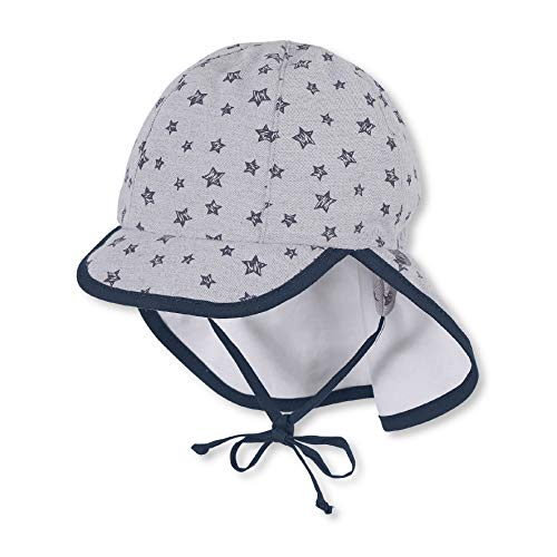 Sterntaler Schirmmütze mit Bindebändern und Nackenschutz, Alter: 12-18 Monate, Größe: 49, Rauchgrau
