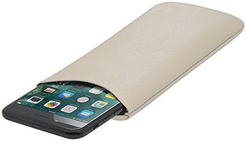 StilGut Pouch, Universal-Hülle aus feinstem Nappaleder | Sleeve Handyhülle Größe L passend für z.B. Samsung Galaxy S7, Huawei Honor P9 Lite, Samsung S6 Edge, OnePlus X u.a, Creme Nappa
