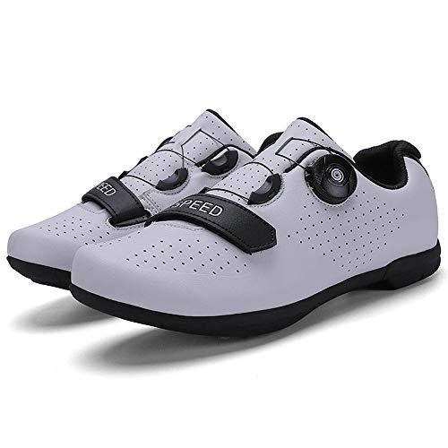 RegbKing Zapatillas Ciclismo MTB Zapatillas Bicicleta Montaña Hombre Zapatos Ciclismo Calzado Bicicleta Montaña White-41