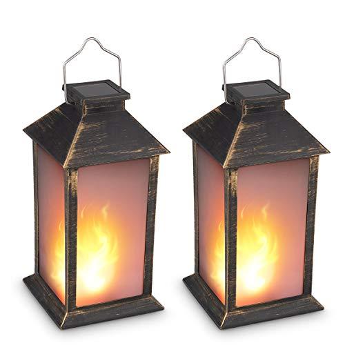 13' Vintage Style Solar Powered Candle Lantern(Metallic Coating Black,Plastic),Solar Garden Light with Vivid Fire Effect,Outdoor Solar Hanging Lantern,Decorative Candle Lanterns ZKEE (Set of 2)