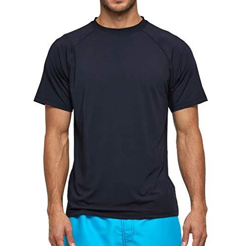 Arcweg Rashguard Herren Kurzarm Shirt UV Schutz T-Shirt Elastisch Schnelltrocknend Sun Shirt UPF 50 Tops Funktionsshirt Fitness Shirt Rash Vest zum Surf Laufen Angeln Wandern M-3XL Schwarz EU 3XL