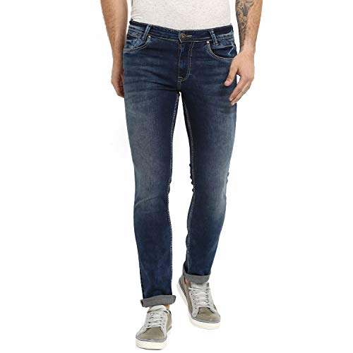 MUFTI Narrow Blue Dark Whiskered Washed Fashion Jeans