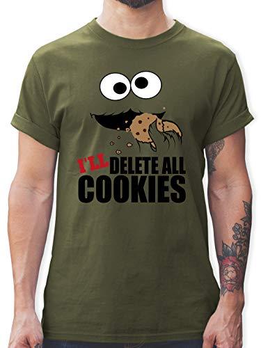 Nerds & Geeks - I Will Delete All Cookies Keks-Monster - XXL - Army Grün - lustige Tshirts für männer - L190 - Tshirt Herren und Männer T-Shirts