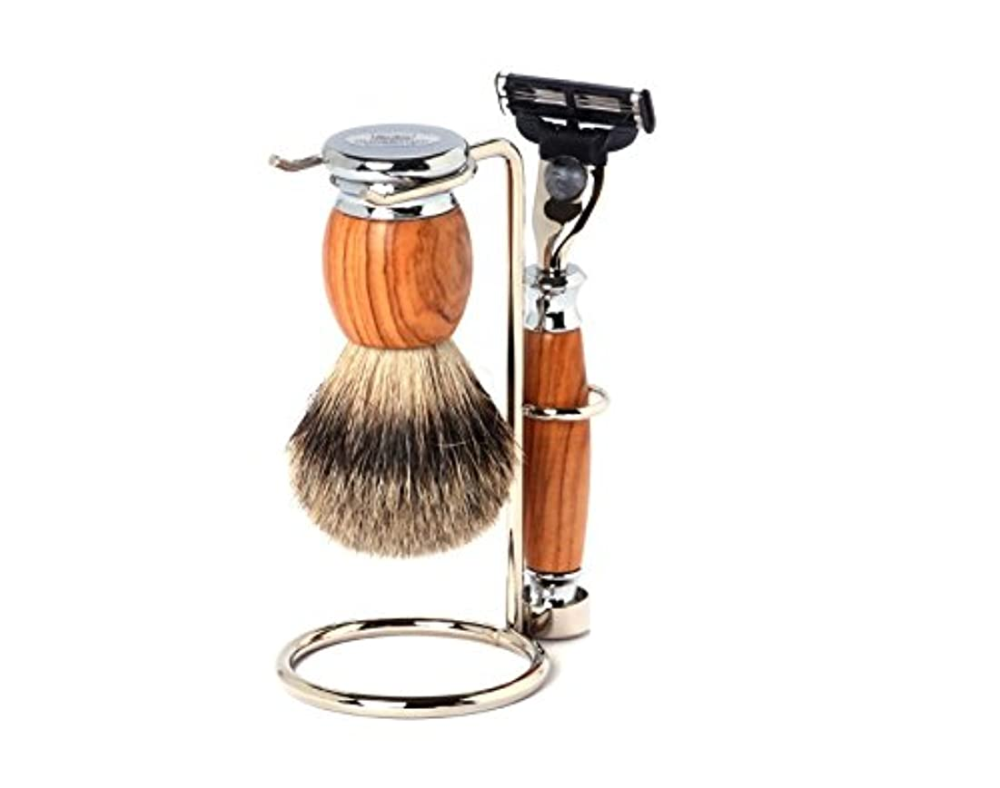 匹敵しますジョージエリオット放射するShaving Set Olive, Mach3 razor, silvertip brush and stand - Hans Baier