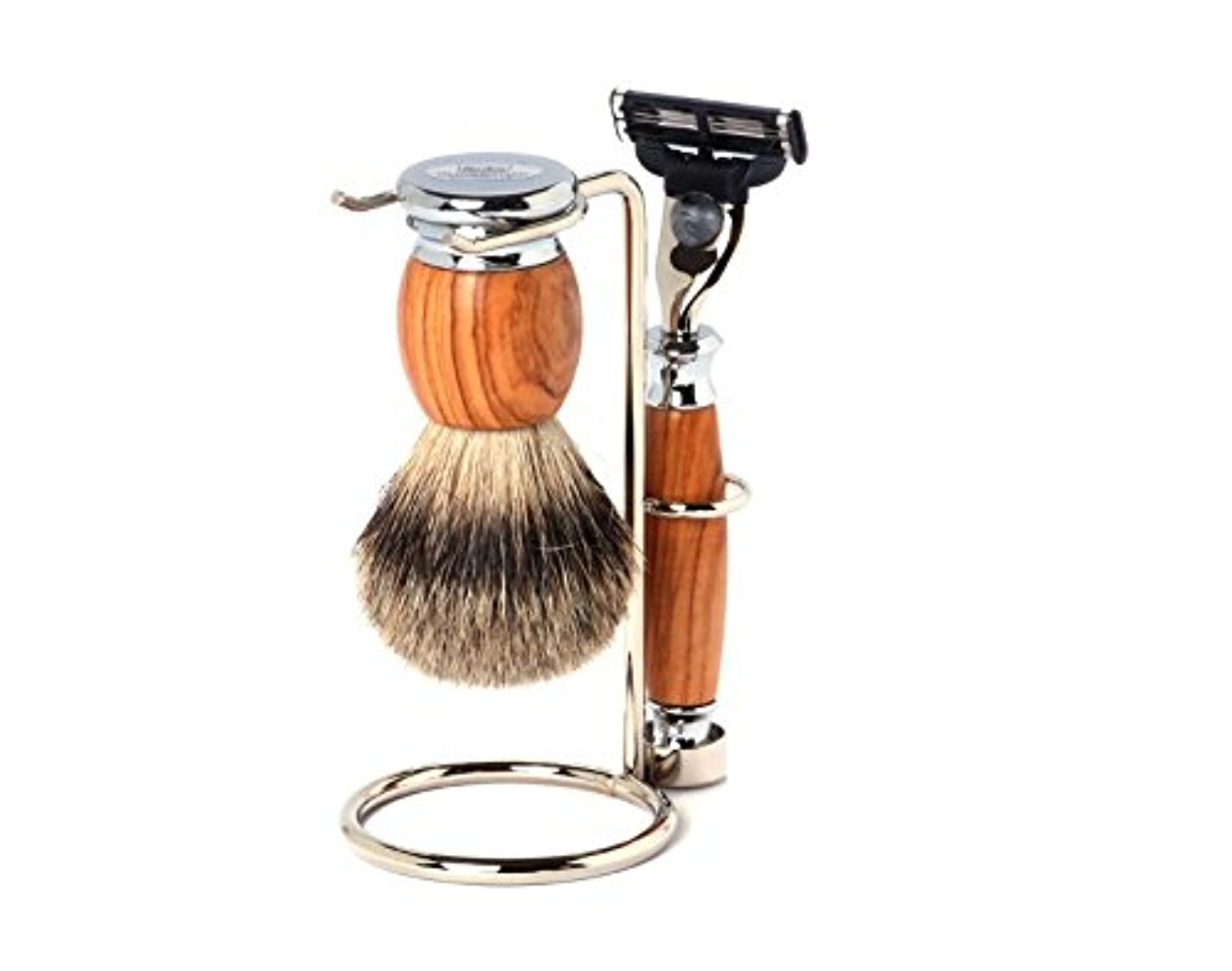 残り腐食する入力Shaving Set Olive, Mach3 razor, silvertip brush and stand - Hans Baier