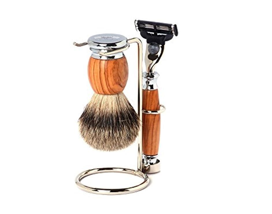 サドル公平な葡萄Shaving Set Olive, Mach3 razor, silvertip brush and stand - Hans Baier