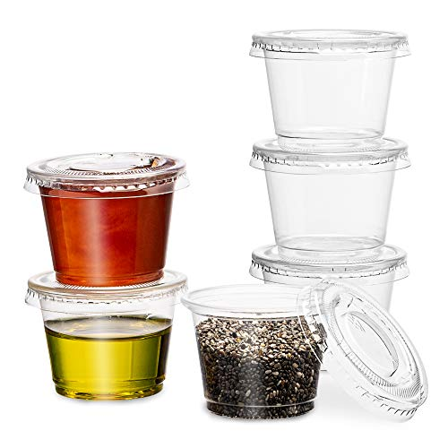 PlastiMade Clear Disposable Plastic Portion Cups With Lids (100 Sets - 1 Oz) - Disposable Condiment Cups, Sauce/Dip/Dressing Cups, Souffle Cups & Jello Shot Cups With Lids | Great Sampling Containers