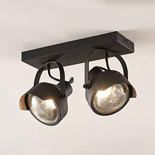 Lindby Strahler 'Henega' dimmbar (Vintage, Industriell) in Schwarz aus Metall u.a. für Wohnzimmer & Esszimmer (2 flammig, GU10, A++) - Deckenlampe, Deckenleuchte, Lampe, Spot, Wohnzimmerlampe