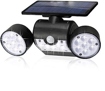 Solar Light with Motion Sensor,Wide Angle Illumination,Weatherproof Dual Head Solar Spotlight 30 LED Ultra-Bright for Step Stair Wall Garden Yard Driveway Walkway
