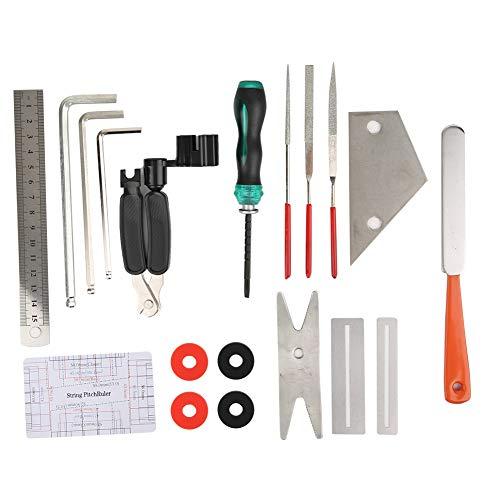Semiter Gitarrenreparatur-Werkzeugsatz, DIY File Lock Buckle Musikinstrumentenzubehör, Multifunktions-452g-Reparaturgitarrenhals zum Polieren des Griffbretts