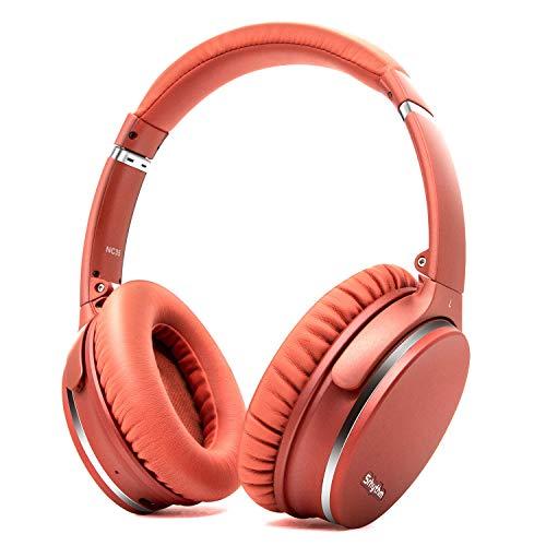 Noise Cancelling Kopfhörer Faltbare Kabellos Bluetooth 5.0,Srhythm NC35 Over-Ear Leichtes mit Schnellladung,CVC8.0-Mikrofonen, Megabass über 40 Stunden Spielzeit - Geringe Latenz (Orange Korallen)