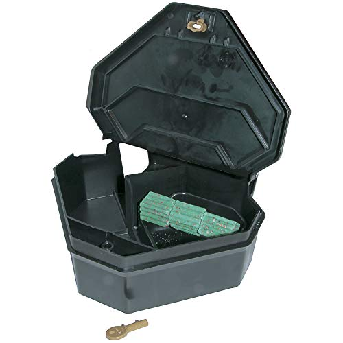 JT Eaton 904 Gold Key Rat Depot Plastic Heavy Duty Tamper Resistant Bait Station with Solid Lid, 11-3/8' Length x 10-1/4' Width x 3-1/2' Height (Case of 6)