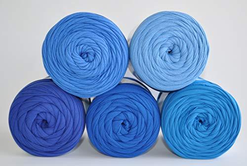 Textilgarn Baumwollegarn Stoffgarn Blau 650g, 120m für Taschen, Körbe, Utensilo, Teppiche (kornblüme)
