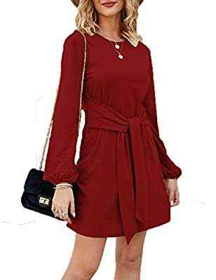 Tobrief Women's Autumn Winter Long Lantern Sleeve Knitted Bodycon Tie Waist Pencil Sweater Dress