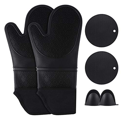 Extra Long Silicone Oven Mitts with Quilted Liner,Heat Resistant Non-Slip Kitchen Oven Gloves with Pot Holders &Mini Oven Gloves Set for Baking Cooking Barbecue, Pack of 6