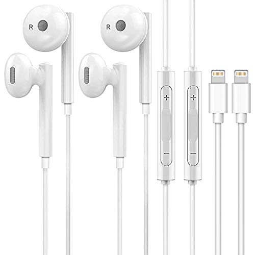 iPhone Earbuds, Wired Earphones Headphones with Microphone&Volume Control, in Ear Earphones Noise Cancelling Headset for iPhone 7/7 Plus/8/8 Plus/X/XS/XR/11/11 Pro/SE/12,2Pack