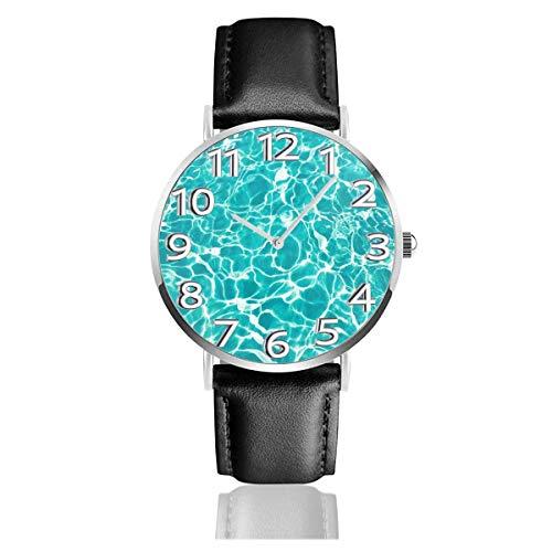 Reloj de Pulsera Wave Water Sea Cool Pattern Azul Durable PU Correa de Cuero Relojes de Negocios de Cuarzo Reloj de Pulsera Informal Unisex