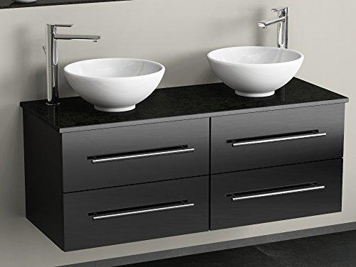 Flex badkamermeubel 120cm met 4 laden - keramische wasbak rond - dragerplaat van graniet - zwart hoogglans
