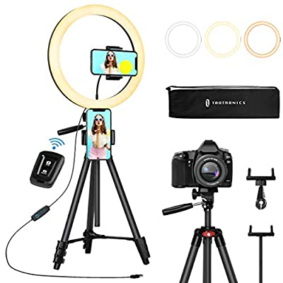 """TaoTronics 12"""" Selfie Ring Light with 3 Color Modes, 10 Adjustable Brightness, 61"""" Extendable Tripod Stand, 2 Phone Holders, Bluetooth Remote Shutter for Photography/Makeup/Live Stream/YouTube/Vlogs by TaoTronics"""
