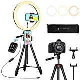 TaoTronics Anneau lumineux à selfie 30,5 cm avec 3 modes de couleurs, luminosité réglable, trépied extensible, 2 supports de téléphone, déclencheur à distance Bluetooth pour photographie/maquillage/Vlogs/Live Stream/YouTube