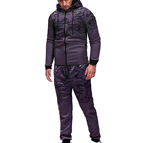XWLY Sportswear Herren Sportanzug Atmungsaktive Herren Streetwear Frühling Und Herbst Eleganter Reißverschluss Hoodie + Hose, Modische Sportart Herren Sportswear Set B-Dark Gray 3XL