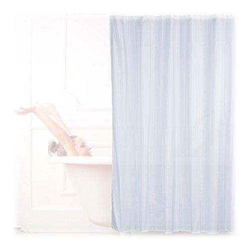 Relaxdays Duschvorhang anti Schimmel, einfarbig, Polyester, Textil, Plastikhaken, 200 x 180 cm, Badewannenvorhang, weiß