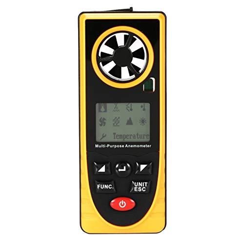 Mozusa Anemómetro digital, portátil Mini metro de velocidad del viento, Medida Profesional temperatura, humedad, sensación térmica, punto de rocío, presión barométrica, iluminación for exterior Medida