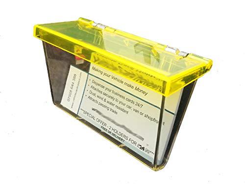 Scatola per biglietti da visita da fissare all'esterno dell'auto, colore scatola: trasparente, colore coperchio: giallo