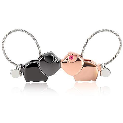 IWILCS Liebhaber Schlüsselanhänger 1 Paar Schweine partneranhänger mit Magnetischen Mund, Zinklegierung Schlüsselbund Geschenk, Schönes Geschenk für Hochzeit Valentinstag Geburtstag Weihnachten