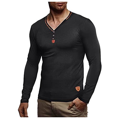 EVAEVA Camisa de Manga Larga para Hombre Camisetas con Cuello en V Blusa con Botones Polos Slim Fit Camisas de Color Sólido Túnicas de Otoño e Invierno Casual Transpirable Hombres Camiseta